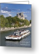 Destination Greeting Cards - Sightseeing boat on river Seine to Louvre museum. Paris Greeting Card by Bernard Jaubert