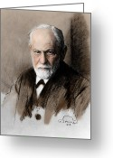 Bad Dream Greeting Cards - Sigmund Freud, Father Of Psychoanalysis Greeting Card by Photo Researchers