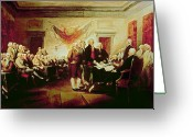 House Tapestries Textiles Greeting Cards - Signing the Declaration of Independence Greeting Card by John Trumbull