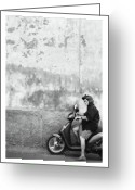 Fineart Canvas          Greeting Cards - Signora black and white Greeting Card by Marco Hietberg