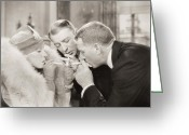 Glove Greeting Cards - Silent Film Still: Smoking Greeting Card by Granger