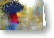 Glass Beads Greeting Cards - Silhouette in the Rain Greeting Card by Carlos Caetano