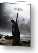 Sun Umbrella Greeting Cards - Silhouette Greeting Card by Joana Kruse