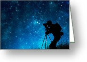 Professional Greeting Cards - Silhouette Of Photographer Shooting Stars Greeting Card by Setsiri Silapasuwanchai