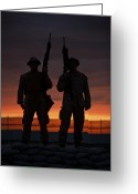 Firearms Photo Greeting Cards - Silhouette Of U.s Marines On A Bunker Greeting Card by Terry Moore
