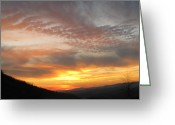 Shining Sun Kiss Mountains Greeting Cards - Silhouette Sunset Greeting Card by Debra     Vatalaro