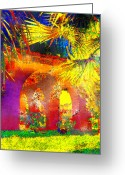 Staley Art Mixed Media Greeting Cards - Simi Arches Greeting Card by Chuck Staley