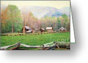 Log Cabins Painting Greeting Cards - Simply Tennessee Greeting Card by Don Evans
