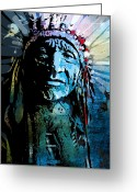 Native Greeting Cards - Sioux Indian Greeting Card by Paul Sachtleben