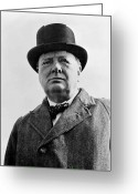 War Art Greeting Cards - Sir Winston Churchill Greeting Card by War Is Hell Store