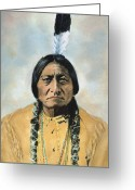 Barry Greeting Cards - Sitting Bull (1834-1890) Greeting Card by Granger