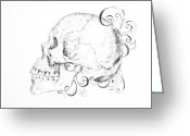 Sarah Zilbershteyn Greeting Cards - Skull with Filigree Greeting Card by Sarah Zilbershteyn
