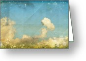 Old Wall Greeting Cards - Sky And Cloud On Old Grunge Paper Greeting Card by Setsiri Silapasuwanchai