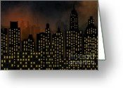 Ghostly Greeting Cards - Skyscrapers - Panorama Of Modern Skyscraper Town Greeting Card by Michal Boubin
