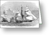 Styx Greeting Cards - Slavery: Slave Ship, 1858 Greeting Card by Granger