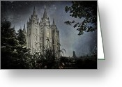 Mormon Temple Photography Greeting Cards - SLC Vintage Blue Greeting Card by La Rae  Roberts