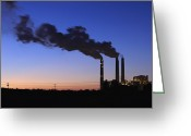 Pollute Greeting Cards - Smokestacks Billowing Smoke At Night Greeting Card by Skip Nall