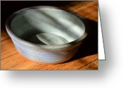 Clay Ceramics Greeting Cards - Snickerhaus Pottery-Small Bowl Greeting Card by Christine Belt