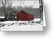 Red Barns Greeting Cards - Snow Barns Greeting Card by Ross Powell