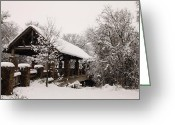 Snowscape Greeting Cards - Snow Covered Bridge Greeting Card by Robert Frederick