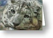 Leopards Greeting Cards - Snow Leopard Painterly Greeting Card by Ernie Echols