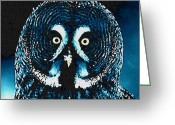 Colette Greeting Cards - Snow Owl Greeting Card by Colette Hera  Guggenheim