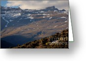 Peak One Greeting Cards - Snowy mountain summits above Capileira village in the Alpujarras mountains Greeting Card by Sami Sarkis