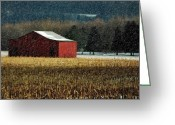 Red Barns Greeting Cards - Snowy Red Barn In Winter Greeting Card by Lois Bryan