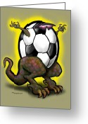 Soccer Greeting Cards - Soccer Saurus Rex Greeting Card by Kevin Middleton