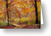 Autumn Roads Greeting Cards - Soft autumn rain Greeting Card by Gina Signore