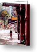 Preppy Greeting Cards - Soho Boy Greeting Card by Ronnie Caplan