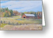 Old Barn Pastels Greeting Cards - Somerset County Farm Greeting Card by Penny Neimiller