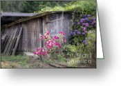 Old Wooden Fence Greeting Cards - Somewhere near Geyserville CA Greeting Card by Joan Carroll