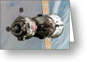 Spacecraft Greeting Cards - Soyuz Tma-6 Spacecraft Greeting Card by Stocktrek Images