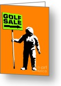 Astronaut Digital Art Greeting Cards - Space golf sale Greeting Card by Pixel Chimp