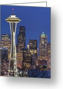 Seattle Skyline Greeting Cards - Space Needle and Downtown Seattle Skyline Greeting Card by Rob Tilley