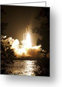 Space Travel Greeting Cards - Space Shuttle Endeavour Liftoff Greeting Card by Stocktrek Images