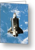 Gray Sky Greeting Cards - Space Shuttle Orbiting Above Earth Greeting Card by Stockbyte