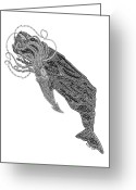 Tribal Drawings Greeting Cards - Sperm Whale and Squid Greeting Card by Carol Lynne