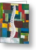 Office Painting Greeting Cards - Spine Greeting Card by Sara Young