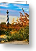 Sea Oats Greeting Cards - Splendid Sunset on Hatteras Greeting Card by Dan Carmichael