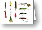Anglers Greeting Cards - Sport Fishing Spinners Spoons and Plugs Greeting Card by Sharon Blanchard
