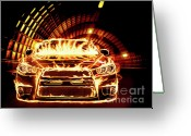 Red Sportscar Greeting Cards - Sports Car in Flames Greeting Card by Oleksiy Maksymenko
