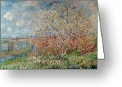 Signature Painting Greeting Cards - Spring Greeting Card by Claude Monet