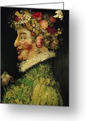Hay Painting Greeting Cards - Spring Greeting Card by Giuseppe Arcimboldo
