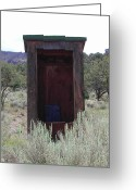 Old Out Houses Greeting Cards - Spruce Mountain Outhouse Greeting Card by Lydia Warner Miller