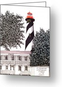 Historic Lighthouse Drawings Greeting Cards - St Augustine Lighthouse - Museum Greeting Card by Frederic Kohli
