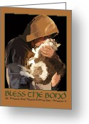 Francis Digital Art Greeting Cards - St. Francis with Cat Greeting Card by Kris Hackleman
