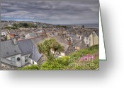 Slates Greeting Cards - St Ives Rooftops Greeting Card by Allan Briggs