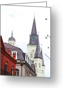 Cajun Greeting Cards - St. Louis Cathedral Greeting Card by Nadjah Darwish Bergeron